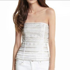 WHBL White Geometric Satin Embroidered Bustier 4